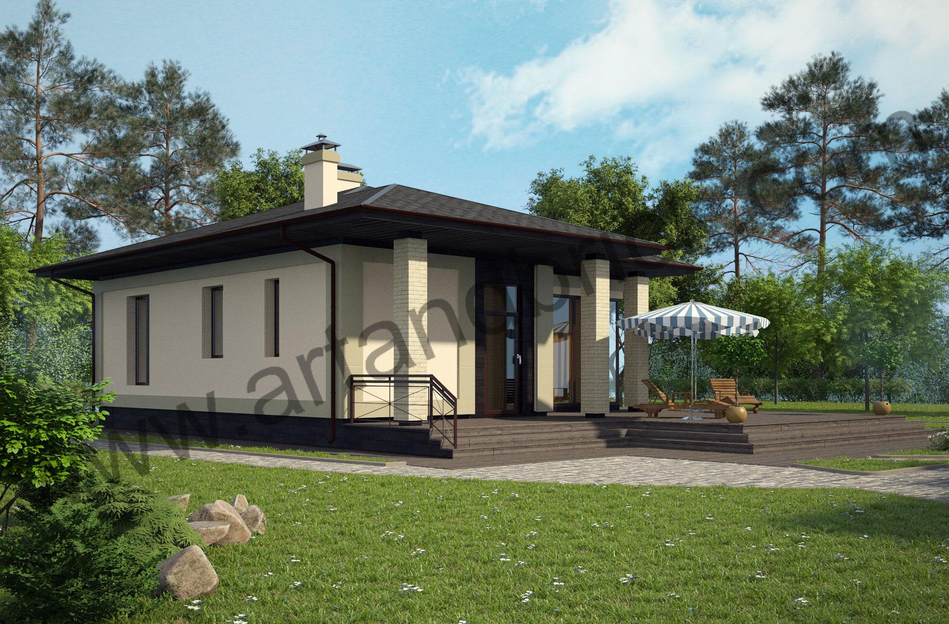 Проект дома c баней в современном стиле – боковой и главный фасады бани. Площадь современного коттеджа – 253 кв.м., площадь бани – 85 кв.м.