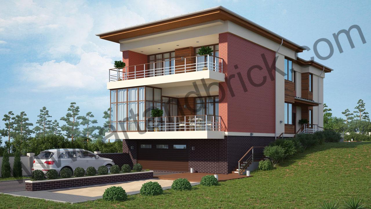 Проект современного дома - общий вид. Площадь дома в современном стиле – 385,9 кв.м.