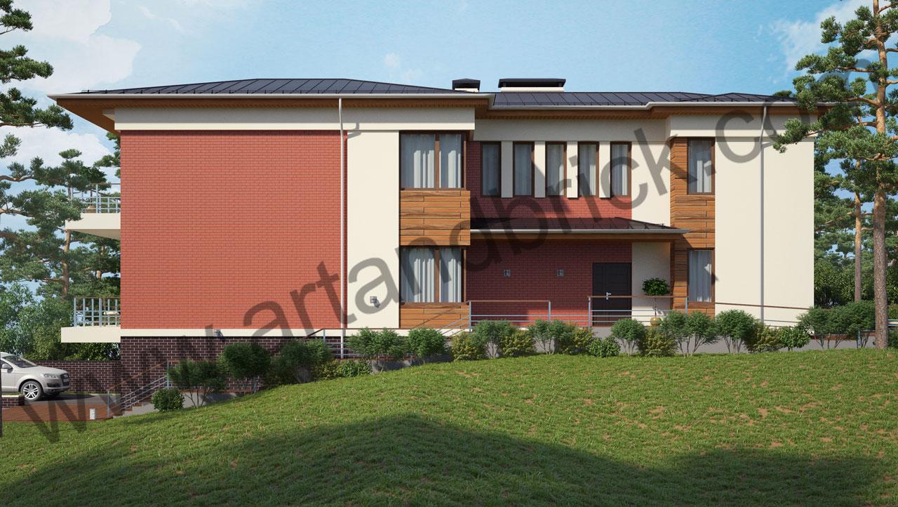 Проект современного дома - боковой фасад. Площадь дома в современном стиле – 385,9 кв.м.