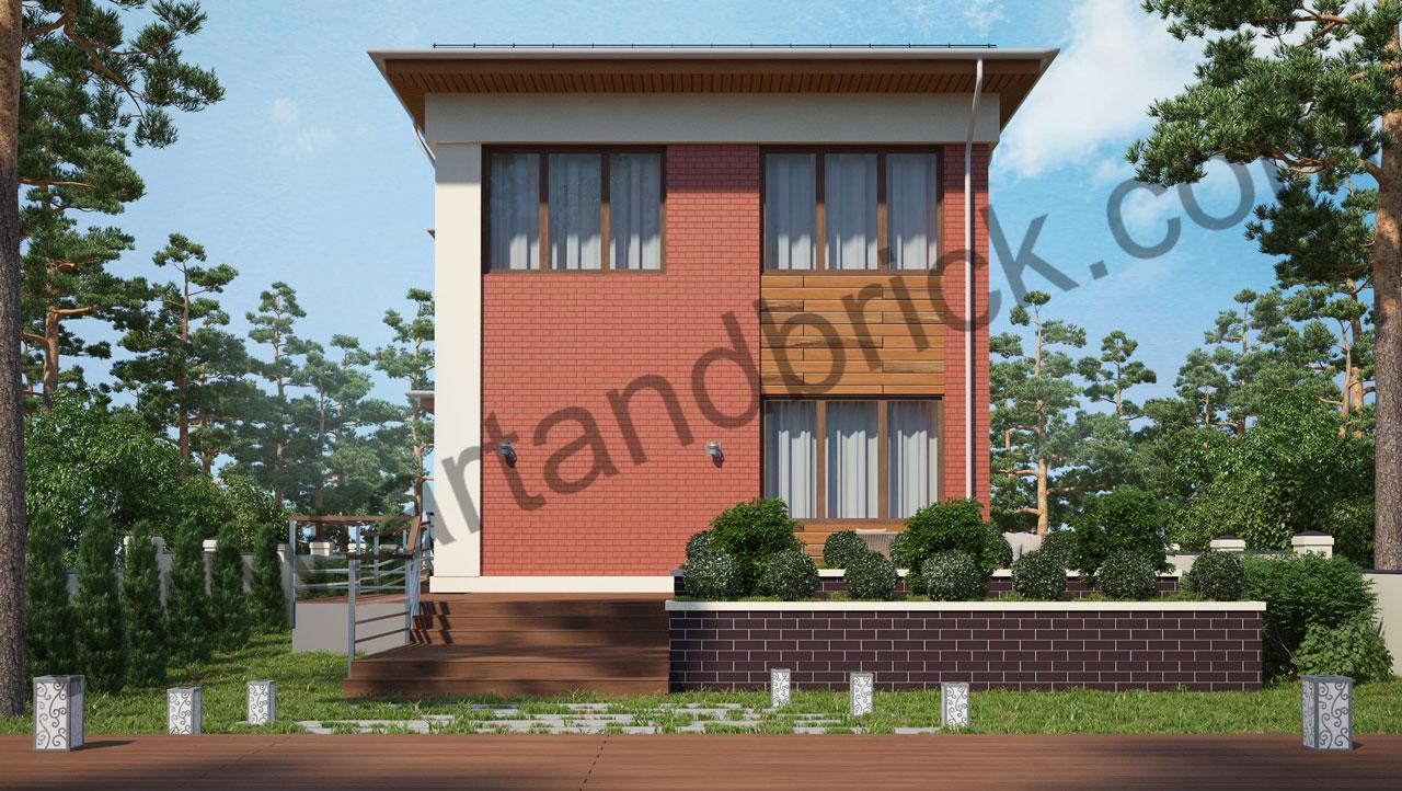 Проект современного дома - задний фасад. Площадь дома в современном стиле – 385,9 кв.м.