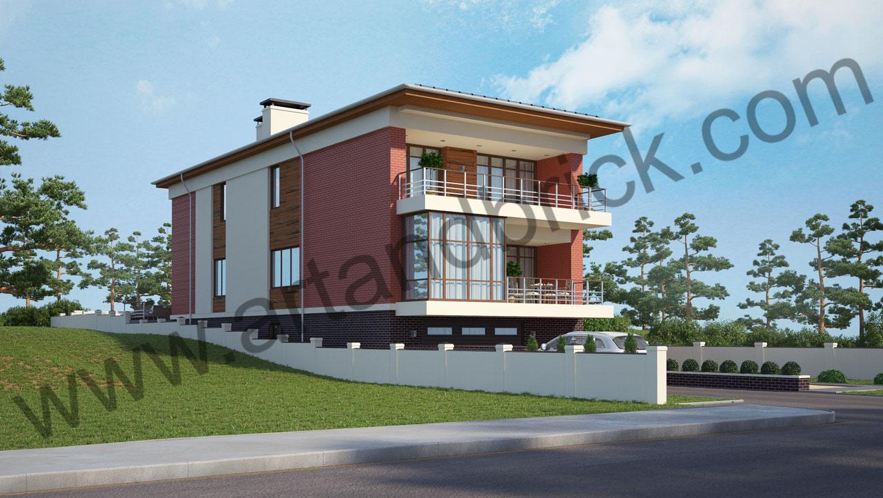 Проект современного дома - боковой и главный фасады. Площадь дома в современном стиле – 385,9 кв.м.