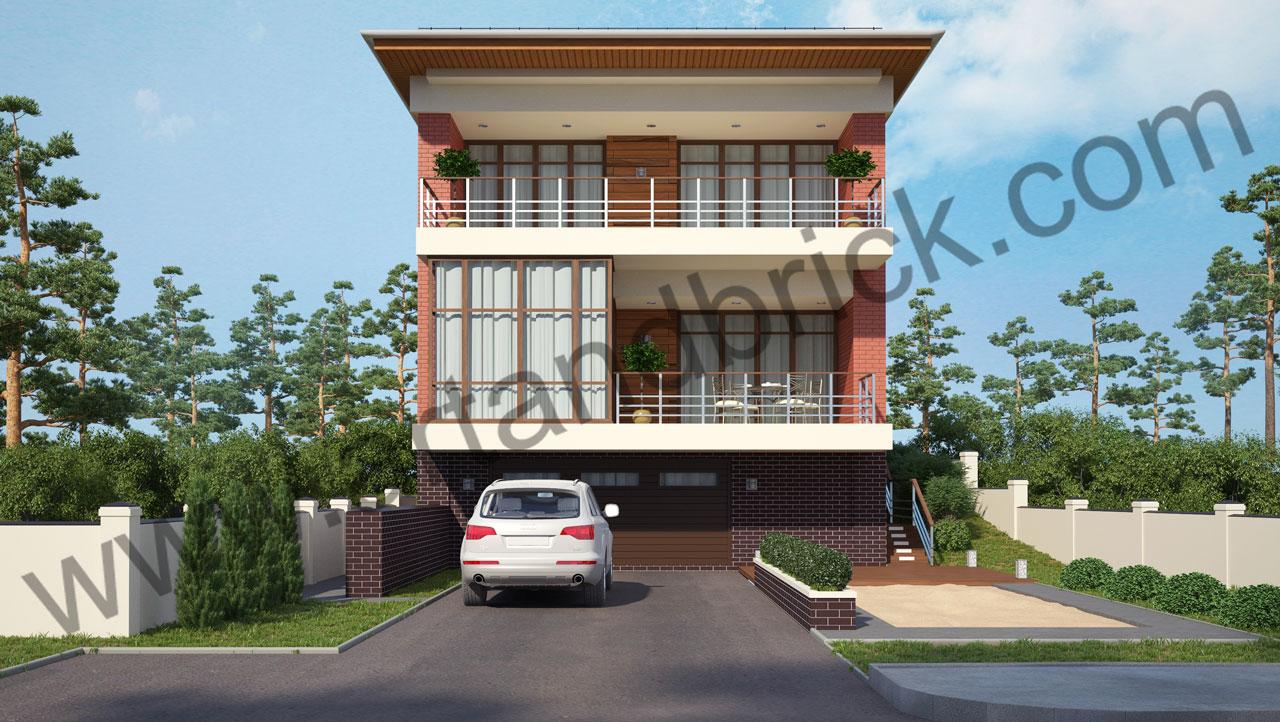 Проект современного дома - главный фасад. Площадь дома в современном стиле – 385,9 кв.м.