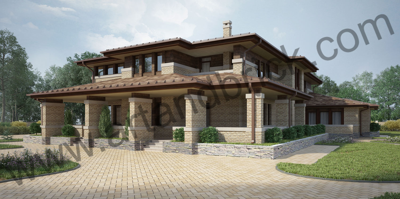 Проект дома в стилей Райта - боковой фасад. Площадь проекта дома в стиле Райта (стиль Прерий) - 933 кв.м.