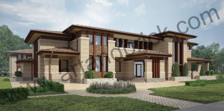 Главный фасад проекта дома в стилей Райта. Площадь проекта дома в стиле Райта (стиль Прерий) - 933 кв.м.