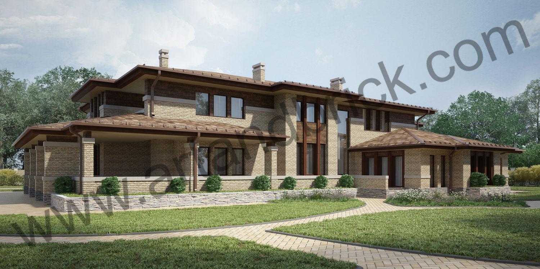 Проект дома в стилей Райта - задний фасад. Площадь проекта дома в стиле Райта (стиль Прерий) - 933 кв.м.