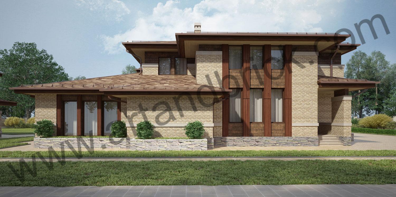 Проект гостевого дома с гаражом в стилей Райта (Прерий) - главный фасад. Площадь проекта гостевого дома с гаражом - 173,5 кв.м.
