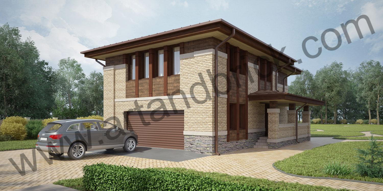 Проект гостевого дома с гаражом в стилей Райта (Прерий) - боковой фасад с гаражом. Площадь проекта гостевого дома с гаражом - 173,5 кв.м.