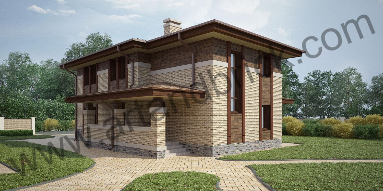 Проект гостевого дома с гаражом в стилей Райта (Прерий) - боковой фасад с входной группой. Площадь проекта гостевого дома с гаражом - 173,5 кв.м.