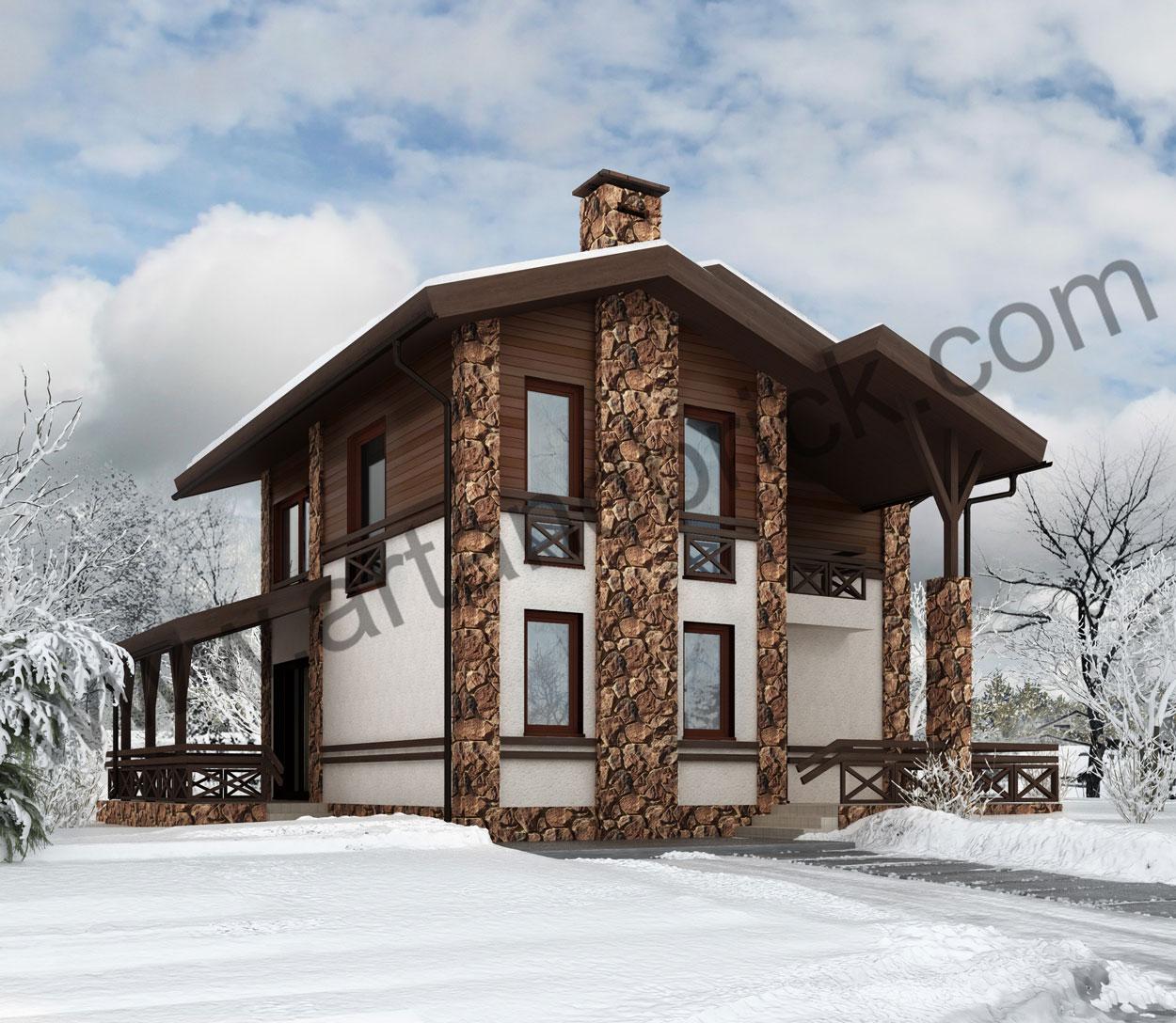 Проект дома в стиле Шале – главный фасад. Площадь проекта частного дома – 150 кв.м.