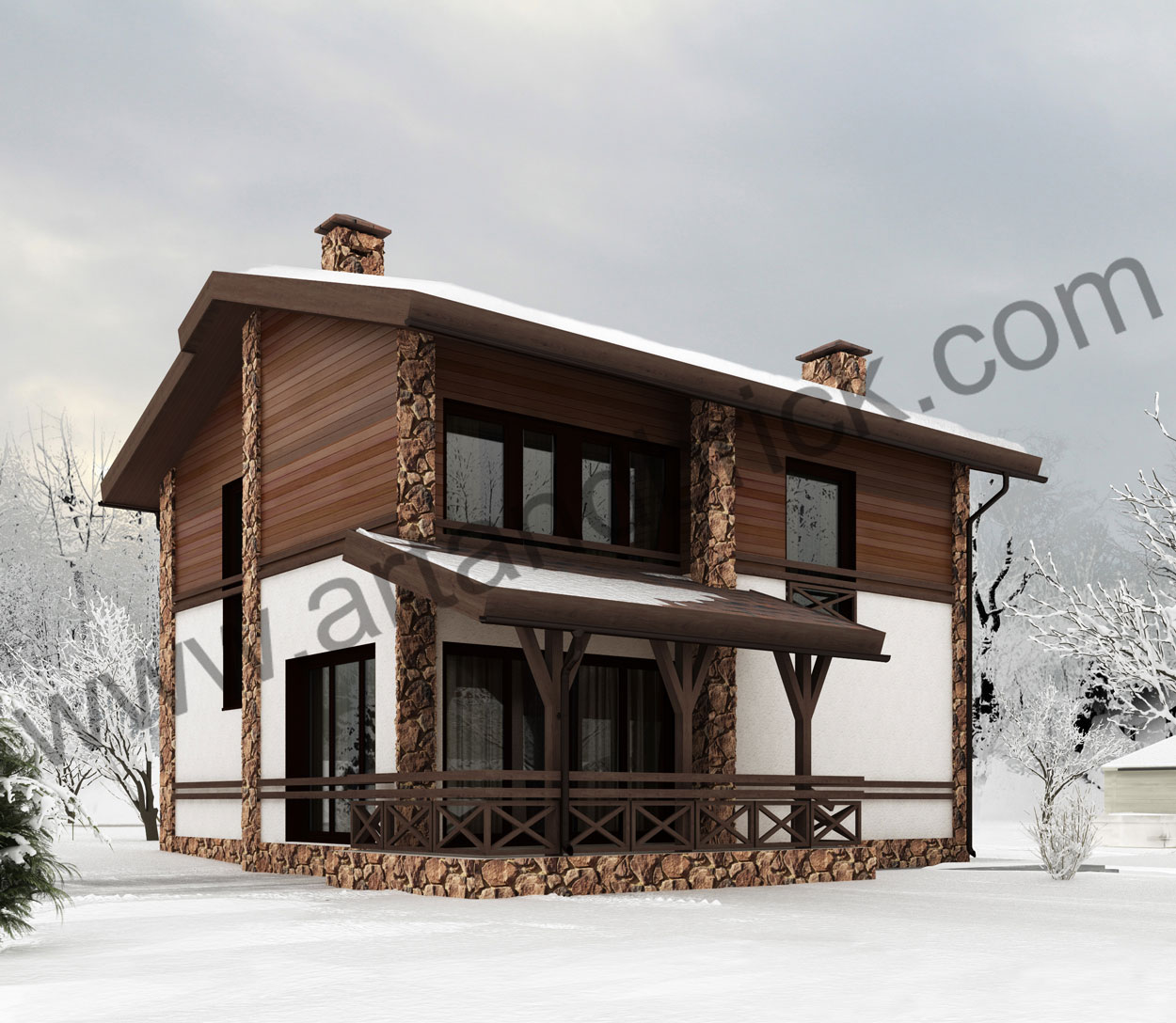 Проект дома в стиле Шале – задний фасад. Площадь проекта частного дома – 150 кв.м.