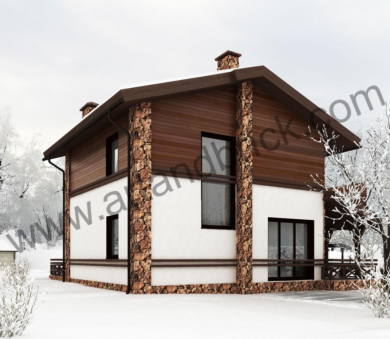 Проект дома в стиле Шале – боковой фасад. Площадь проекта частного дома – 150 кв.м.