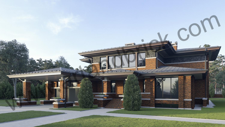 Архитектурный проект дома в стилей Райта - главный фасад. Площадь дома в стиле Райта - 569 кв.м.