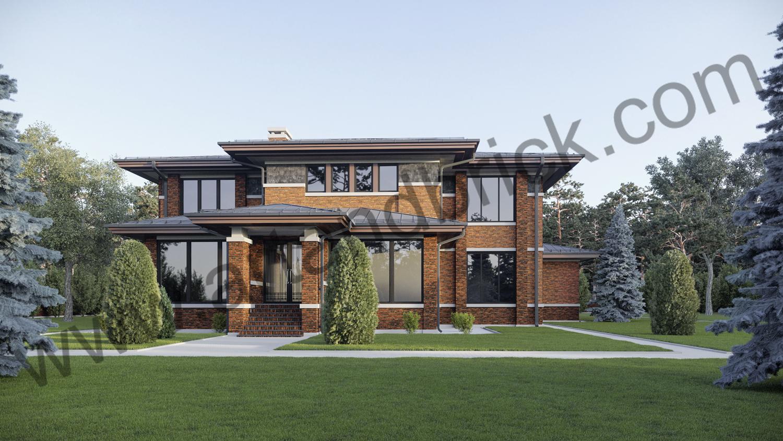 Архитектурный проект дома в стилей Райта - задний фасад. Площадь дома в стиле Райта - 569 кв.м.