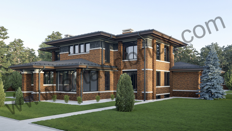 Архитектурный проект дома в стилей Райта - задний и боковой фасады с верандой. Площадь дома в стиле Райта - 569 кв.м.