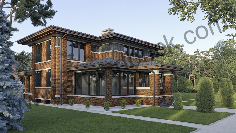 Архитектурный проект дома в стилей Райта - задний фасад с верандой и боковой фасад. Площадь дома в стиле Райта - 569 кв.м.