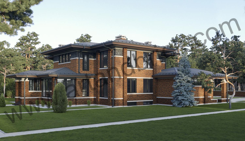 Архитектурный проект дома в стилей Райта - боковой фасад. Площадь дома в стиле Райта - 569 кв.м.