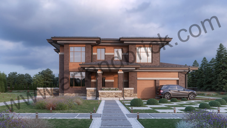 Архитектурный проект дома в стилей Прерий - главный фасад. Площадь жилого дома в стиле «Прерий» - 506,9 кв.м.
