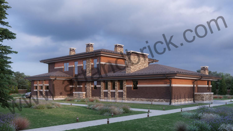 Архитектурный проект дома в стилей Прерий - боковой фасад 1. Площадь жилого дома в стиле «Прерий» - 506,9 кв.м.