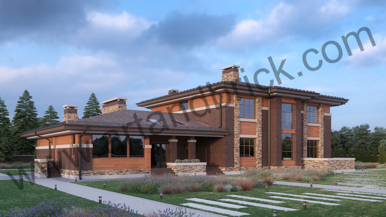 Архитектурный проект дома в стилей Прерий - боковой фасад 2. Площадь жилого дома в стиле «Прерий» - 506,9 кв.м.