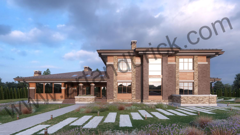 Архитектурный проект дома в стилей Прерий - задний фасад. Площадь жилого дома в стиле «Прерий» - 506,9 кв.м.