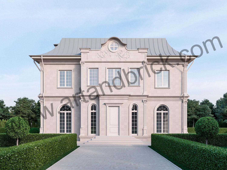 Архитектурный проект дома во французском стиле - главный фасад. Площадь дома с дизайном фасадов во французском стиле - 336 кв.м.