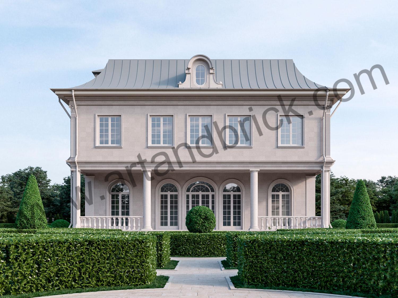 Архитектурный проект дома во французском стиле - задний фасад. Площадь дома с дизайном фасадов во французском стиле - 336 кв.м.