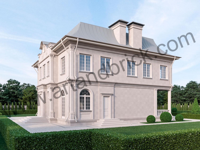 Архитектурный проект дома во французском стиле - боковой фасад. Площадь дома с дизайном фасадов во французском стиле - 336 кв.м.