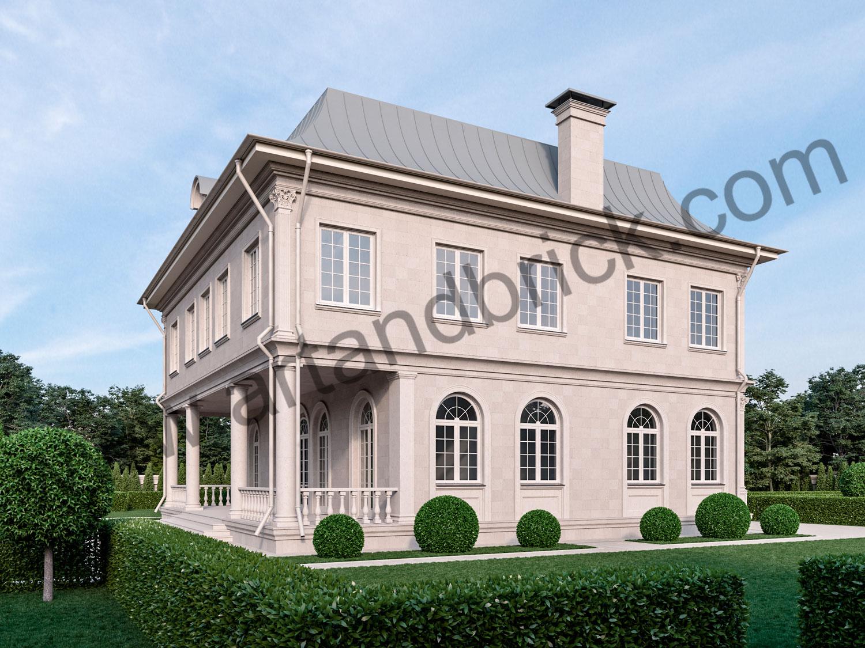 Архитектурный проект дома во французском стиле - терраса и боковой фасад. Площадь дома с дизайном фасадов во французском стиле - 336 кв.м.