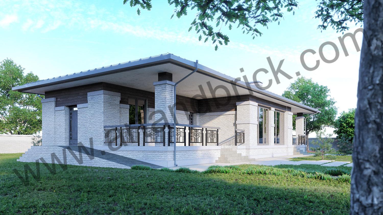 Современная баня в стиле Райта - 146 кв.м. - боковой фасад с террасой