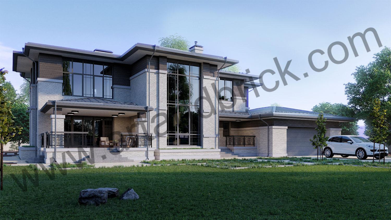 Проект двухэтажного дома в стиле Райта площадью 470 кв.м. - главный фасад