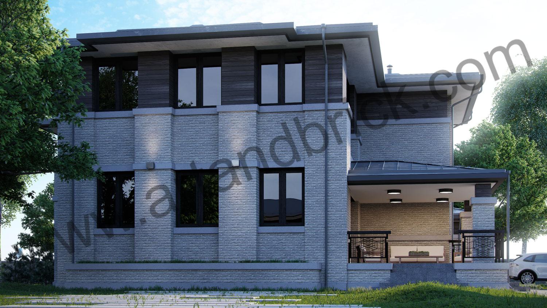 Проект двухэтажного дома в стиле Райта площадью 470 кв.м. - терраса и боковой фасад