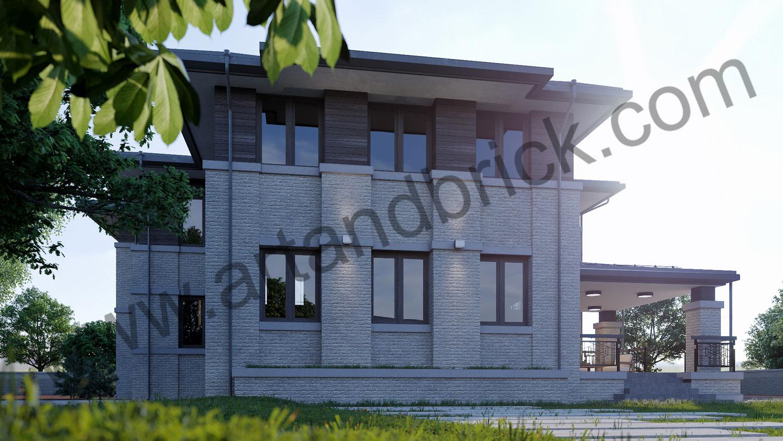 Проект двухэтажного дома в стиле Райта площадью 470 кв.м. - боковой фасад с террасой