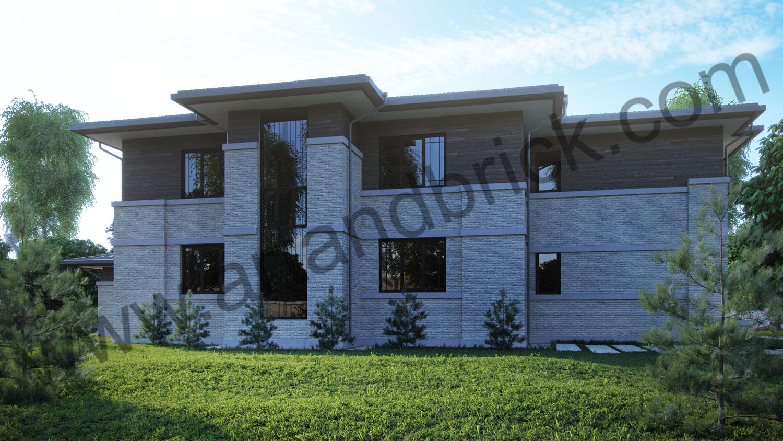 Проект двухэтажного дома в стиле Райта площадью 470 кв.м. - задний фасад