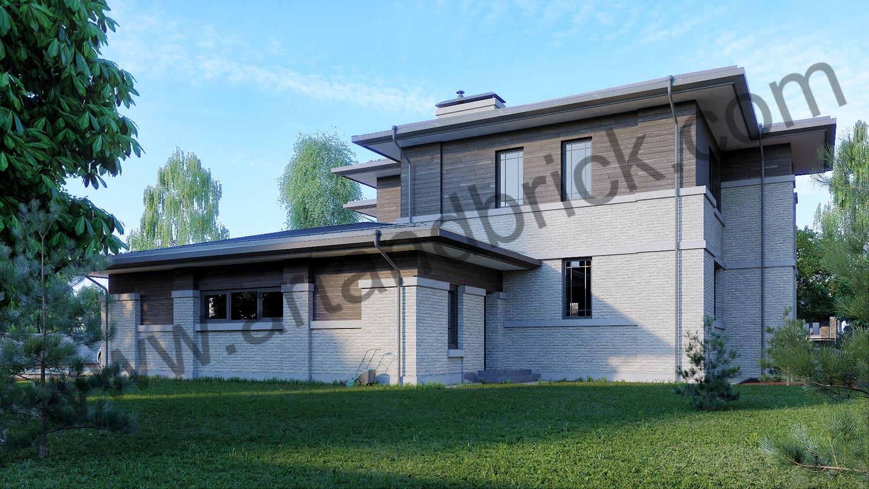 Проект двухэтажного дома в стиле Райта площадью 470 кв.м. - боковой фасад с котельной
