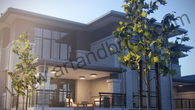 Проект двухэтажного дома в стиле Райта площадью 470 кв.м. - терраса