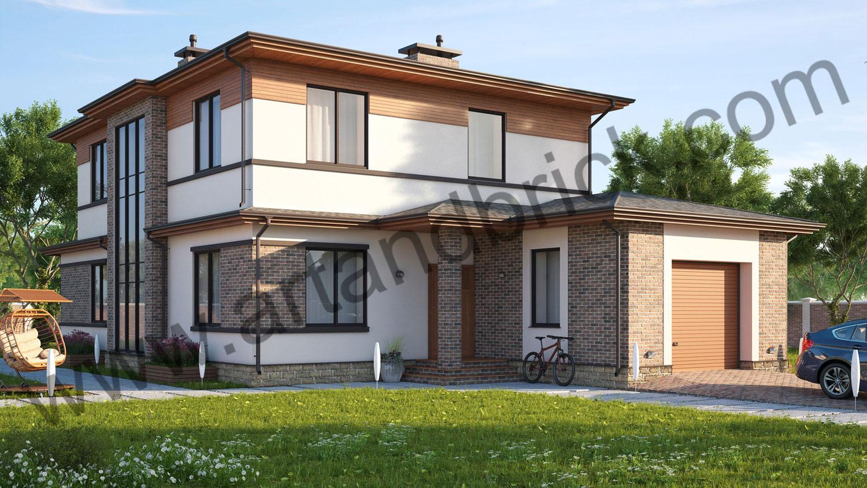 Проект частного дома - вид со стороны главного фасада. Площадь проекта своременного частного дома - 221 кв.м.