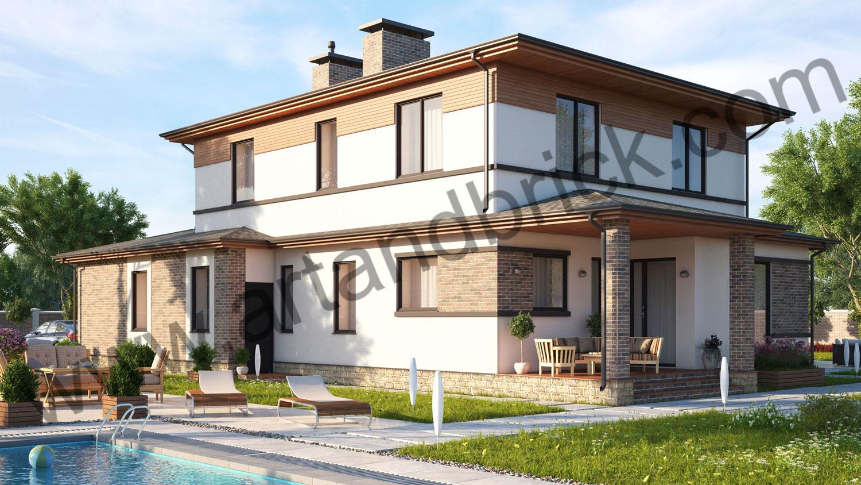Проект частного дома - вид на задний и боковой фасады. Площадь проекта своременного частного дома - 221 кв.м.