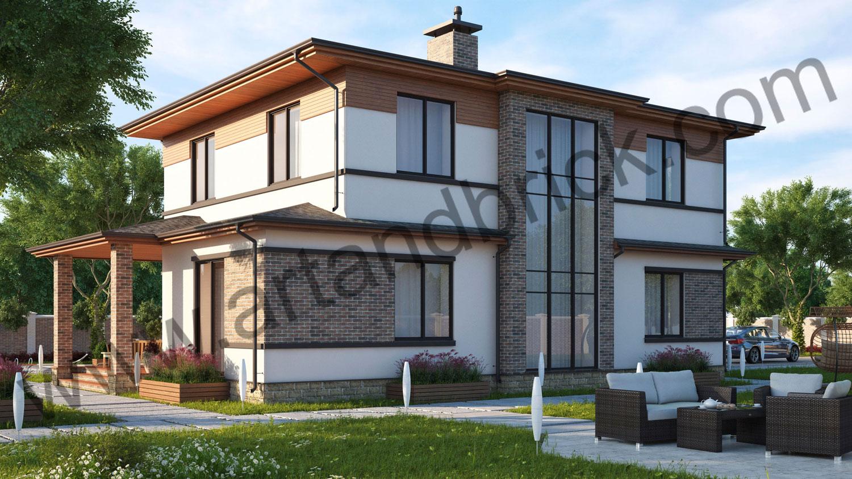 Проект частного дома - боковой фасад с витражным остеклением и вторым светом. Площадь проекта своременного частного дома - 221 кв.м.