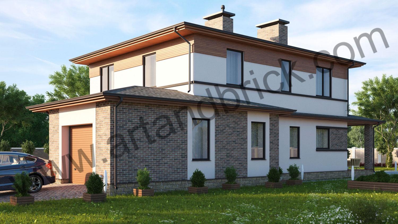 Проект частного дома - задний фасад со стороны въезда в гараж. Площадь проекта своременного частного дома - 221 кв.м.