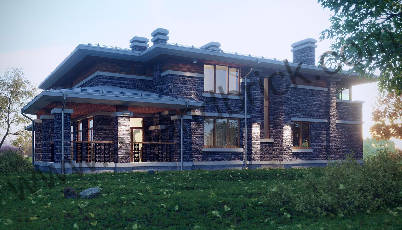 Загородный дом в стилей Райта - задний фасад с террасой. Площадь частного дома в стиле Райта - 408,9 кв.м.