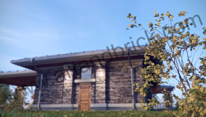 Загородный дом в стилей Райта - фрагмент бокового фасада. Площадь частного дома в стиле Райта - 408,9 кв.м.