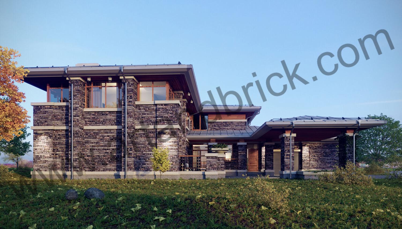 Загородный дом в стилей Райта - левый фасад с боковым входом. Площадь частного дома в стиле Райта - 408,9 кв.м.