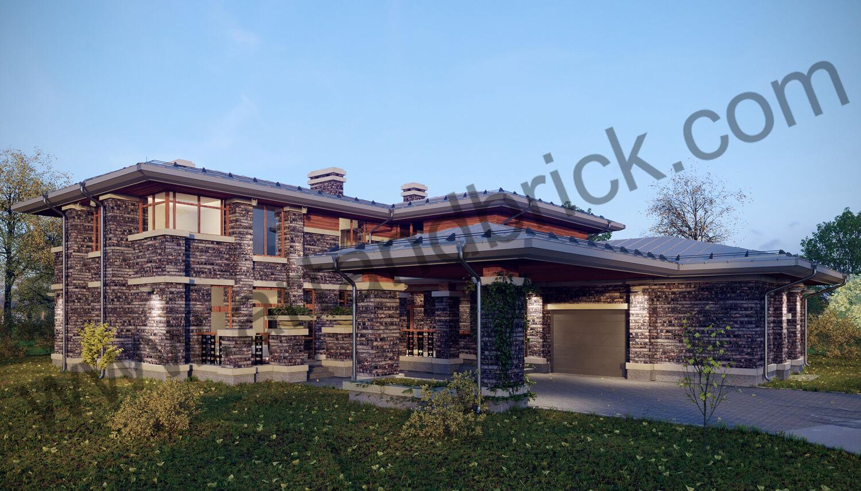 Загородный дом в стилей Райта - главный фасад. Площадь частного дома в стиле Райта - 408,9 кв.м.