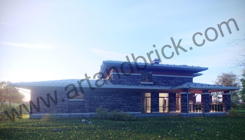 Загородный дом в стилей Райта - правый фасад с террасой. Площадь частного дома в стиле Райта - 408,9 кв.м.