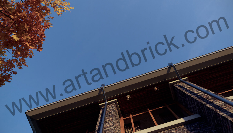 Загородный дом в стилей Райта - фрагмент фасада с кровлей. Площадь частного дома в стиле Райта - 408,9 кв.м.
