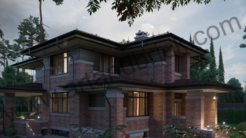 Архитектурный проект частного дома в стиле Райта (МО, Истринский р-н, КП «Балтия») 11