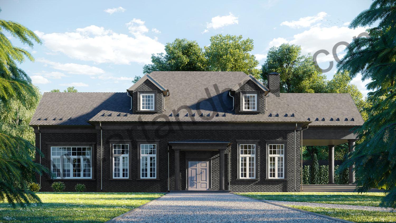 Архитектурный проект частного дома в американском стиле - главный фасад. Общая площадь частного дома– 360 кв.м.