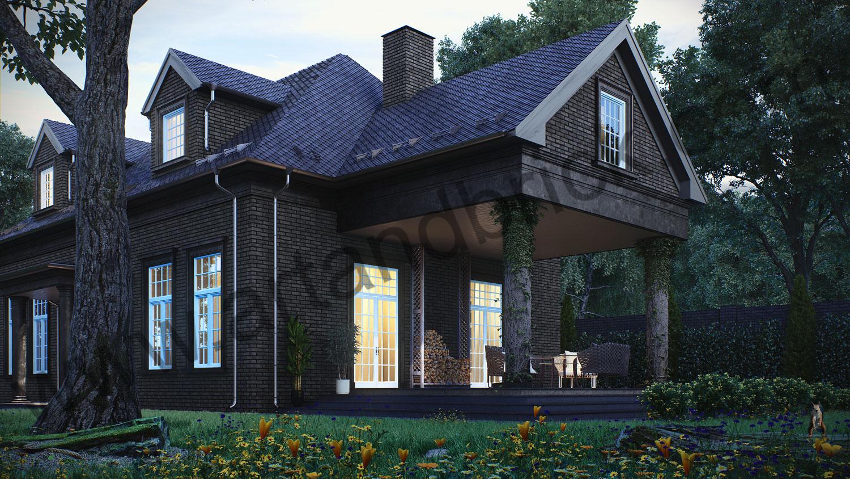 Архитектурный проект частного дома в американском стиле - вид справа. Общая площадь частного дома– 360 кв.м.