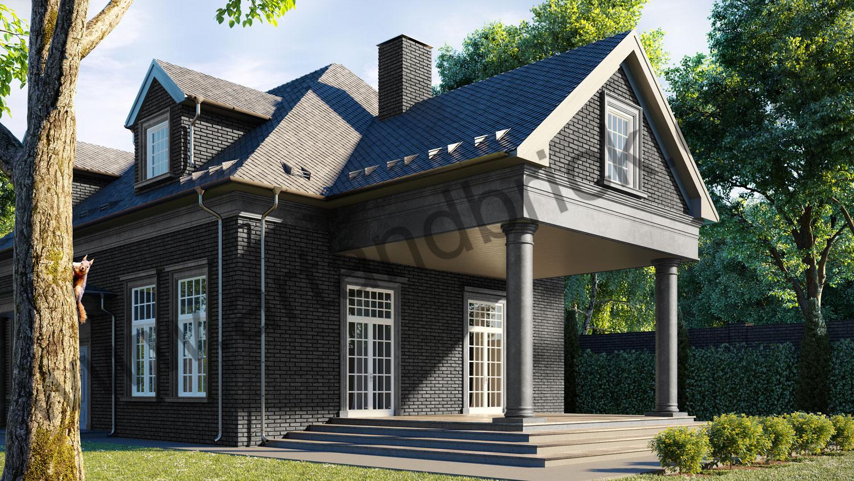 Архитектурный проект частного дома в американском стиле - вид справа 2. Общая площадь частного дома– 360 кв.м.