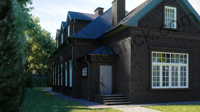 Архитектурный проект частного дома в американском стиле - задний вход. Общая площадь частного дома– 360 кв.м.